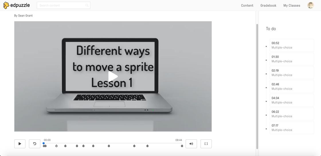 SchoolCoding Edpuzzle Animated Sprites Lesson 1